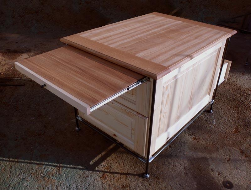 Ilot central bois et metal id es de design for Fabrication d un ilot central de cuisine
